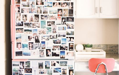 Cover your college apartment fridge with Polaroid photos of your best and
