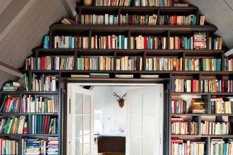 Bookshelves for the Attic Alcove books home inspiration decorate ideas library alcove