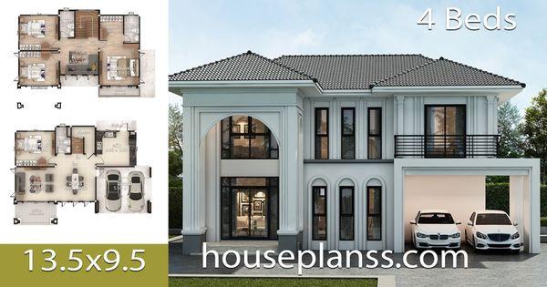 House Plans Design Idea 13 5x9 5 With 4 Bedrooms House Plans 3d Home Design Plans Model House Plan 4 Bedroom House Plans
