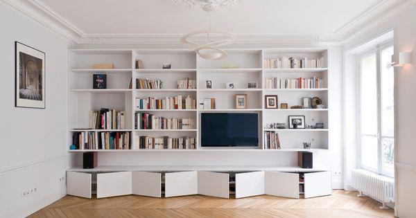Biblioth que et meuble tv contemporain salon with for Bibliotheque meuble contemporain