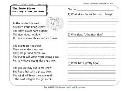 The Snow Blows With Images Comprehension Worksheets Reading