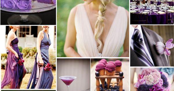 combina distintos tonos de morado en la decoración de la boda