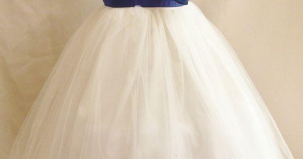 Flower Girl Dresses- ivory & Royal blue
