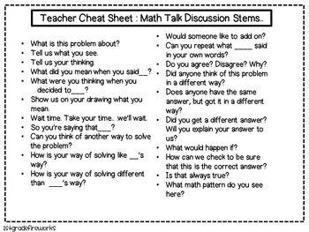 Math Talk Discussion Stems For A Math Talk Community Math Talk Math Writing Math Quotes