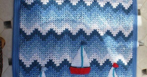 Crochet Nautical Baby Afghan Crochet patterns ...