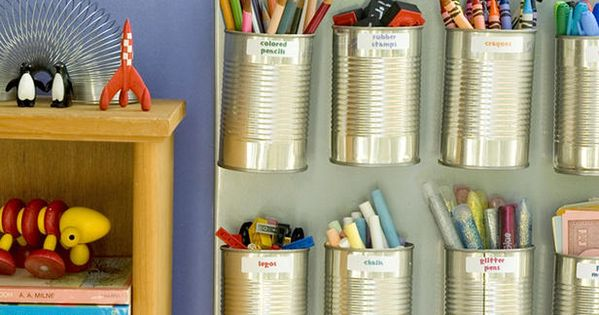 Money-Saving Design Ideas for Kids' Rooms : Save old soup cans and