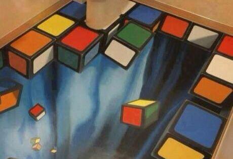 Suelo tetris fotos ilusiones opticas pinterest for Ilusiones opticas en el suelo