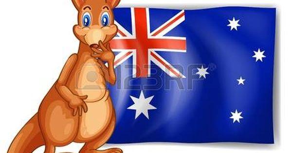 Ilustracion De Un Canguro Al Lado De Una Bandera Australiana En El Fondo Blanco Bandera De Australia Canguros Australia
