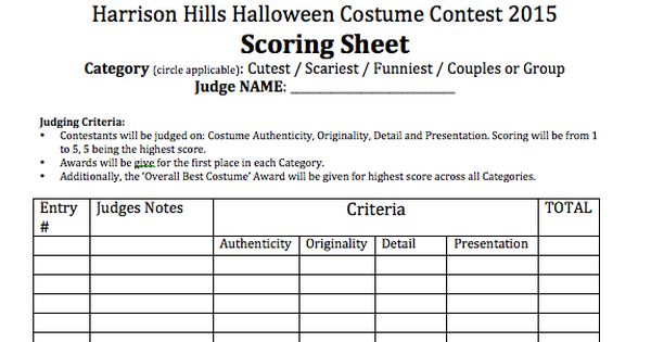 Image Result For Costume Contest Judging Sheet With Images