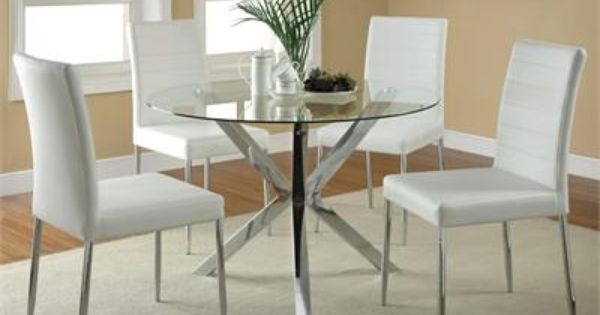 41 Erika Modern Round Glass Table W White Chairs Glass Round Dining Table Modern Kitchen Tables Glass Dining Room Table