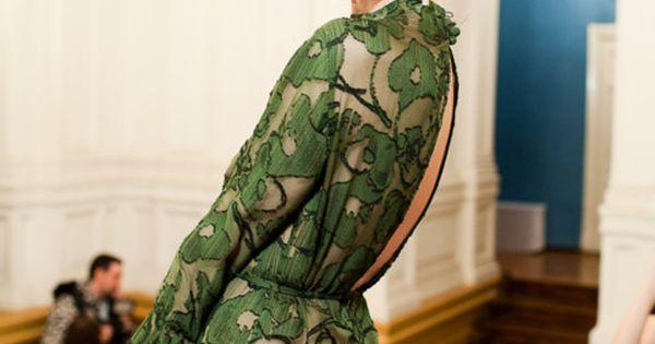 Ulyana Sergeenko | green lace gown