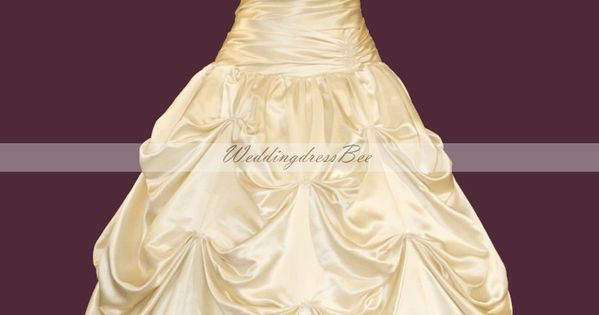 Strapless elegant ball gown with catch-up. It looks like bell's dress from