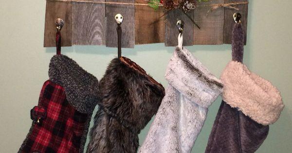 Rustic Pallet Wood Christmas stocking holder DIY   Tis The ...