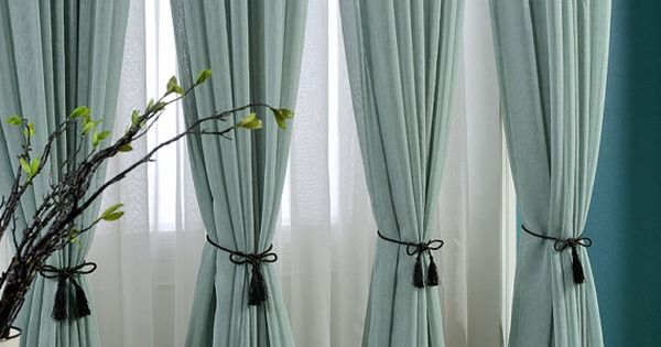 Delicate Light Teal Linen Blend Sheer Curtain Made To By