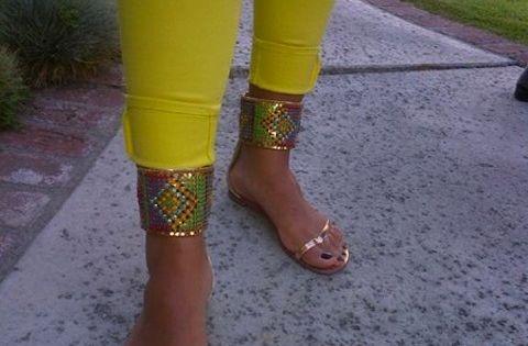 Shaniece Hairston Giuseppe Zanotti Tribal Cuff Flat Sandals | See more about Flat Sandals, Giuseppe Zanotti and Cuffs.