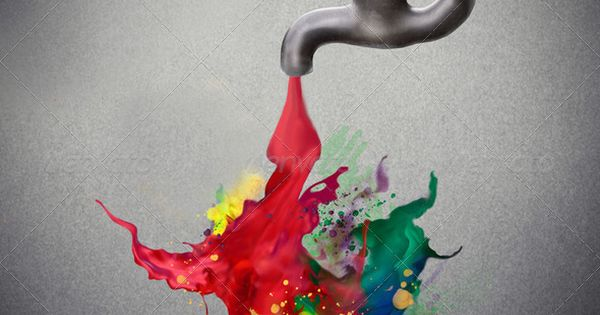 Flowing creativity – tap pouring colored paint on the ground