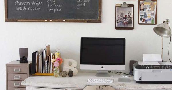 Hanging clipboards on the wall | Vintage, rustic office space with a