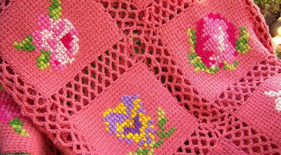 Reserved For Missmarpletoo Vintage Afghan Blanket Pink