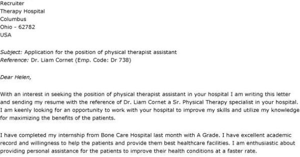 physical therapist assistant covering letter resumes cl