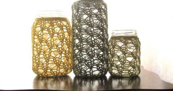 Upcycled Candle Holders Rustic Home Decor Lace Knit Cotton Merino Set Of 3 Yellow Sage