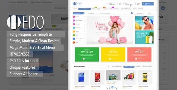 Edo Ecommerce Responsive Html Template With Images Magento