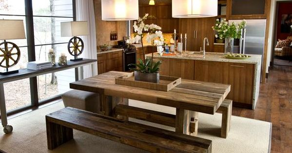 HGTV Green Home 2012: love reclaimed wood table and gear thing lamps