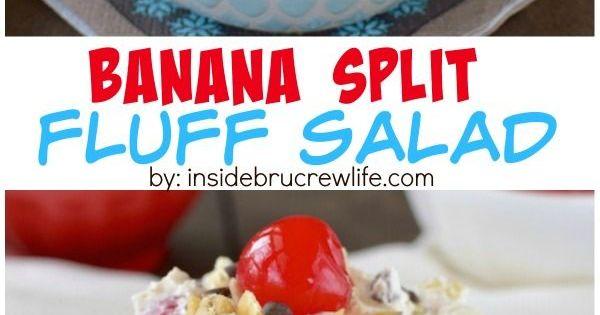 Banana Split Fluff Salad   Recipe   Creamy Fruit Salads, Banana Split ...
