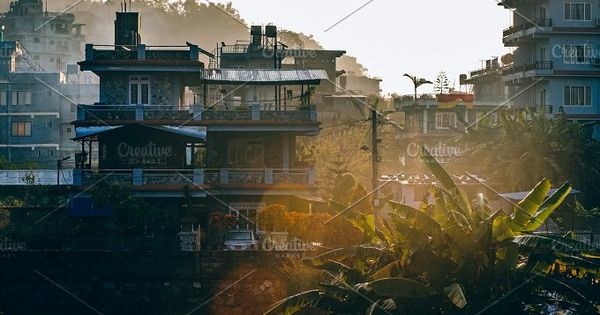Morning rooftop view of Pokhara during a cool Winter morning