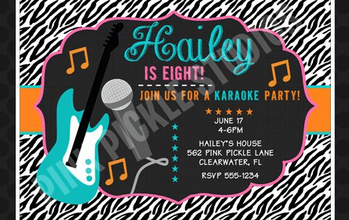 Karaoke Party Invitation Wording Inspirational Diva Rockstar Invitation Karaoke Party Christmas Party Invitations Printable Christmas Party Invitation Template