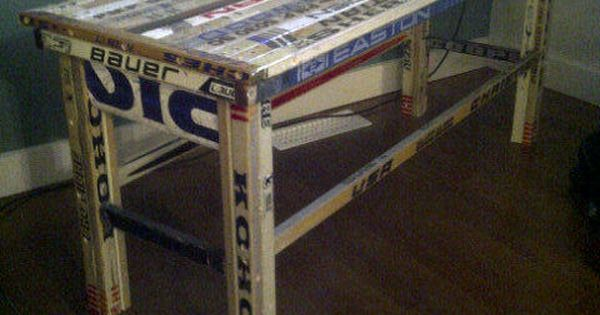 Hockey Stick Table! For all those broken sticks! This is so cool!