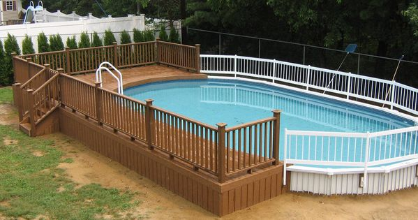22 amazing and unique above ground pool ideas with decks for Above ground pool decks orlando