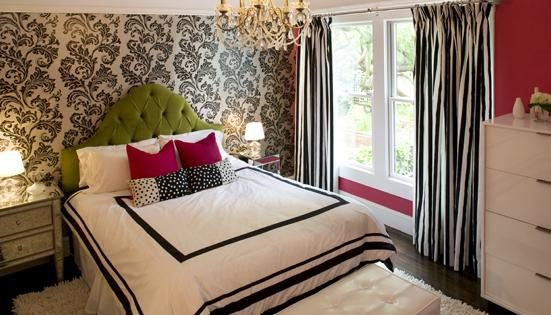 Hot pink green black teen girl's bedroom design with white