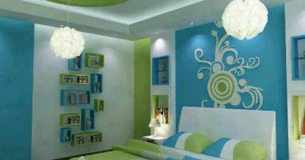 Blue And Green Bedroom These Colors Are A Little Bright