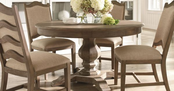 Cobblestone Dining Cobblestone 5-Piece Pedestal Base Table And Ladder Back Chair Set By Schnadig