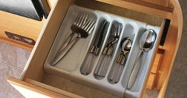 Tray adjustable expandable storage drawer flatware for Silverware storage no drawers