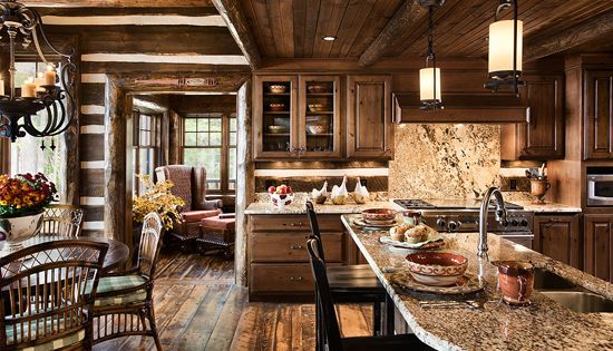 Smaller But Cozy Log Cabin Kitchen Make Mine Rustic