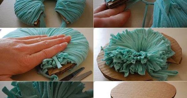 Diy c mo se hacen pompones con camisetas - Como se hacen los pompones ...