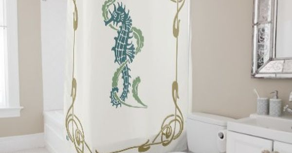 Blueberry Nouveau Art Deco Shower Curtain Seahorse Zazzle Com
