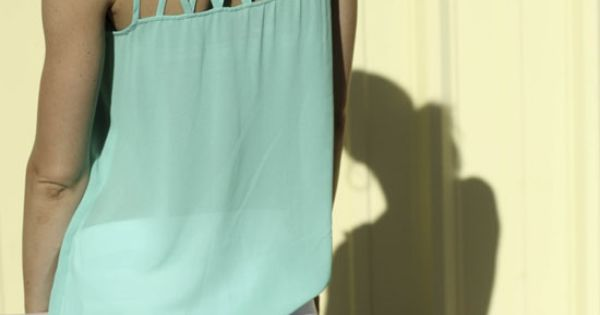 Mint Sleeveless Shirt with Cutouts, White Jeans // retro
