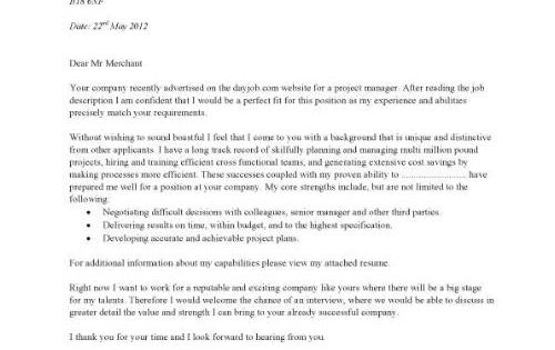 A Simple Project Manager Cover Letter That Is Eye Catching In Design.