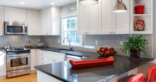 astonishing white kitchen red accents | White Cabinetry, Gray Subway Tile and Belgium Moon Quartz ...