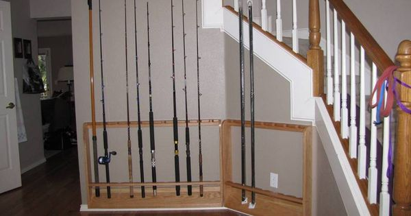 Diy fishing rod rack fishing rod racks holders for Fishing rod holders for home