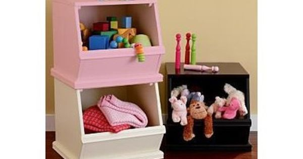 Kids' Toy Boxes: Kids Single Wooden Stacking Storage Bin in Floor Storage