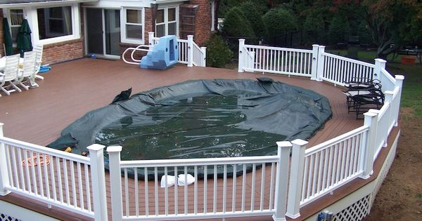 Awesome above ground pool decks nj with flat vinyl fence for Above ground pool decks attached to house