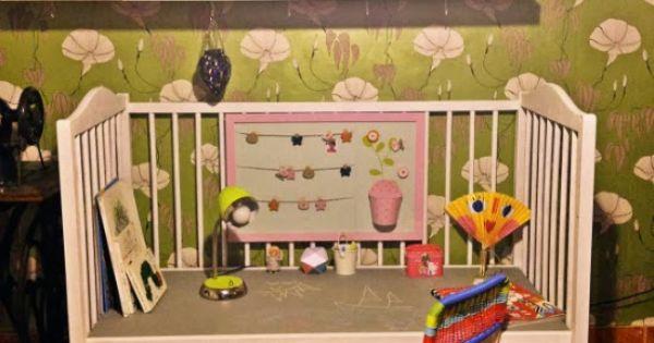 Cuna convertida mesa tutorial pintura pizarra cuarto color gris raton tizas ni os manualidades - Pintura habitacion ninos ...