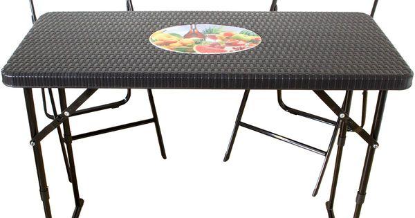 Klapptisch Mit 2 Stuhlen Rattan Optik Balkon Set Tisch