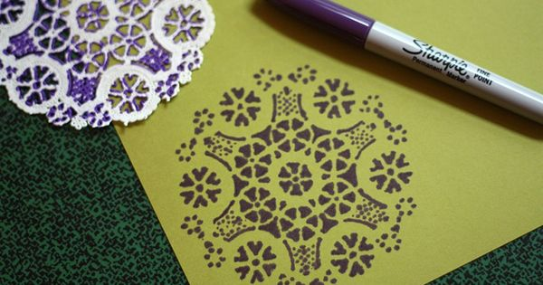DIY Project: Sharpie with doily. Good for scrapbooking