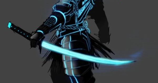 Cool samurai artwork crossed with (what looks like) Tron-style graphics, by superkusokao.