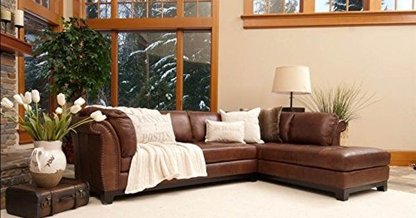 Elements Fine Corsario Top Grain Leather Sectional Bourbon 120 By 825 By 33inch Be Su Leather Couch Sectional Leather Sectional