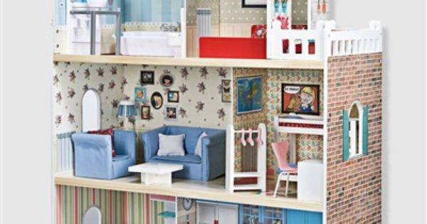 maison de poup es en bois amanda family multicolore vertbaudet enfant maison barbie. Black Bedroom Furniture Sets. Home Design Ideas